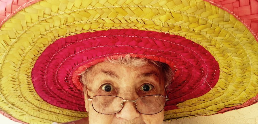 older person in a sombrero