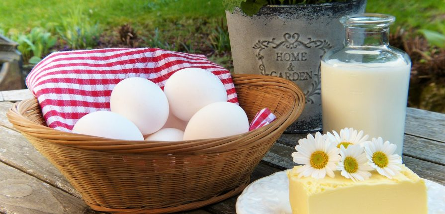 selection of eggs, milk and cheese on table